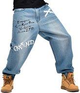 Sunsnow Men's Loose Baggy Jeans Hip Hop Washed Denim Skate Pants