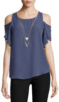 BY AND BY by&by Short Sleeve U Neck Blouse-Juniors