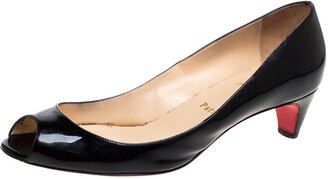Christian Louboutin Black Patent Leather Kitten Heel Peep Toe Pumps Size 40