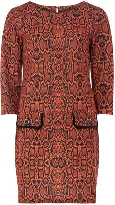 Dorothy Perkins Womens Orange Snake Print Shift Dress, Orange