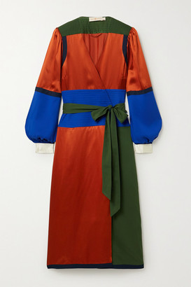 Tory Burch Belted Color-block Silk-blend Satin And Crepe Wrap Dress - Red