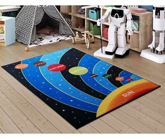 """Zoomie Kids Foote Galaxy Blue/Black Area Rug Rug Size: Rectangle 3'3"""" x 4'"""