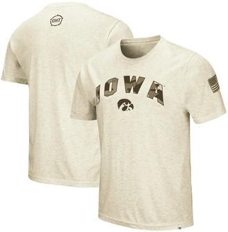 Colosseum Men's Heathered Oatmeal Iowa Hawkeyes OHT Military Appreciation Desert Camo T-Shirt