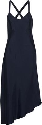 Tibi Asymmetric Sateen Midi Slip Dress