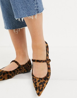 ASOS DESIGN Lacyie mary jane pointed velvet ballet flats in leopard