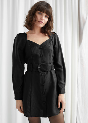 And other stories Jacquard Belted Mini Dress
