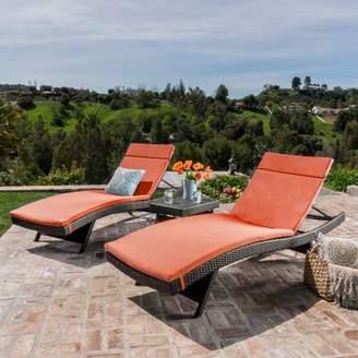 Brayden Studio Hans Cagliari Wicker Chaise Lounge Set with Cushion Brayden Studio Cushion/Frame Color: Orange/Brown