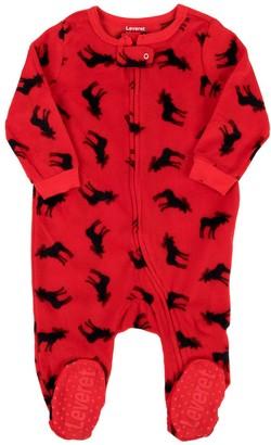 Leveret Footies - Red Moose Pattern Fleece Footie - Infant, Toddler & Kids