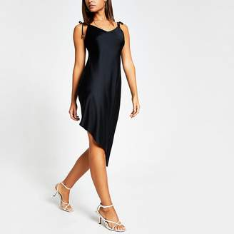 River Island Black asymmetric cami strap midi slip dress