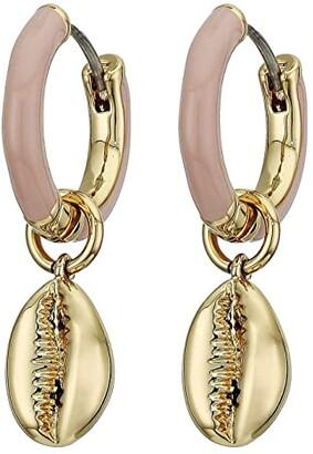 Rebecca Minkoff Puka Shell Enamel Huggie Hoop Earrings (Gold/Light Pink) Earring