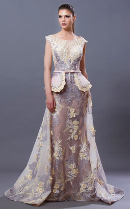 MNM Couture Cap Sleeve Full Illusion Back Gown