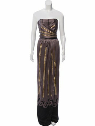 Etro Silk Striped Dress Grey