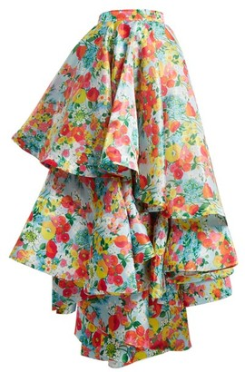 Richard Quinn Floral-print Asymmetric Tiered Skirt - Womens - Multi