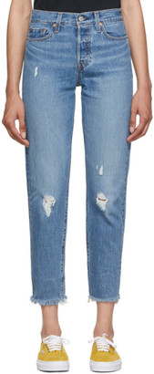 Levi's Levis Blue Wedgie Icon Fit Frayed Jeans