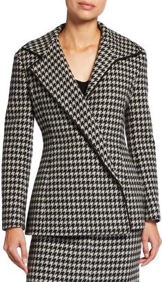 Agnona Wool-Cashmere Houndstooth Jersey Jacket