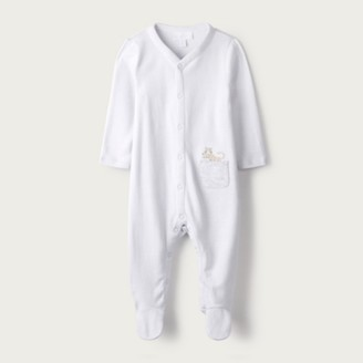The White Company Cheetah Embroidered Pocket Sleepsuit, Grey, 18-24mths