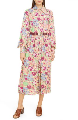 Marc Jacobs Belted Wildflower Print Long Sleeve Jersey Shirtdress