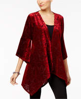 NY Collection Velvet Handkerchief-Hem Cardigan