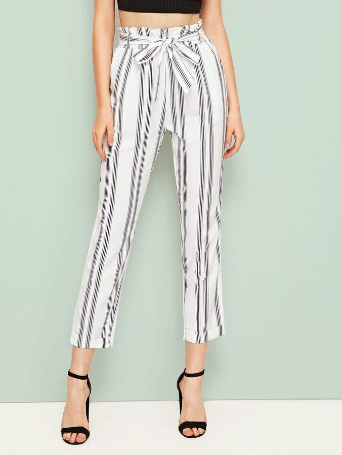 9f04c4110781 Black And White Vertical Striped Pants - ShopStyle