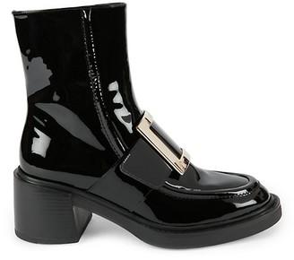 Roger Vivier Viv Rangers Patent Leather Loafer Boots