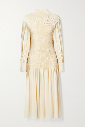 Proenza Schouler Cutout Shirred Crepe Midi Dress - Cream