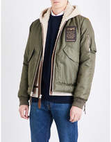 Schott Shearling-lined Shell And Leather Jacket