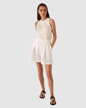 SABA Women's White High-Waisted - SB Lila Linen Shorts - Size One Size, S at The Iconic