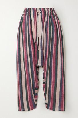 Loewe Striped Cropped Cotton Pants - Pink