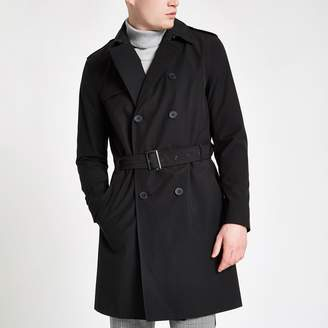 River Island Mens Black double breasted belted trench coat