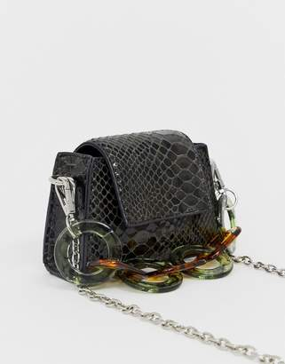 Asos Design DESIGN micro bag in snake with statement resin handle-Green