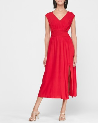 Express Smocked Waist V-Neck Midi Dress