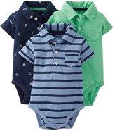 Carter's Boys 3-pack Short-sleeve Polo Bodysuit Set (, Blue/ Multi)