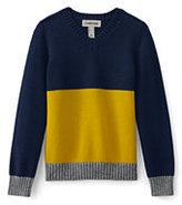 Classic Boys Colorblock V-Neck Sweater-Navy Snow Heather