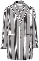 Moncler Gamme Bleu striped short coat - men - Cotton/Feather Down/Polyamide - 0