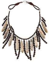 Brunello Cucinelli Fossil Coral & Jasper Fringe Collar Necklace