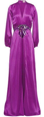 Temperley London Embellished Satin-crepe Gown