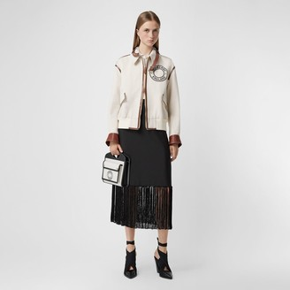Burberry Fringed Mohair Wool A-line Skirt