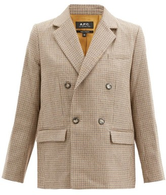 A.P.C. Prune Double-breasted Houndstooth-wool Jacket - Beige
