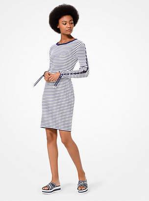 MICHAEL Michael Kors Striped Stretch-Viscose Lace-Up Dress