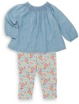 Ralph Lauren Girl's Two-Piece Chambray Top & Floral-Print Leggings