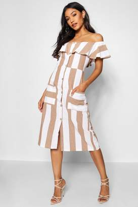 boohoo Off The Shoulder Wide Stripe Midi Dress