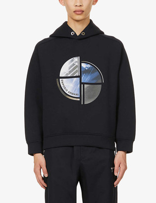 Emporio Armani Abstract-print stretch-jersey hoody