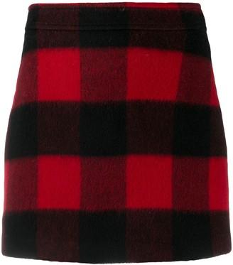 Ganni Checked Wool Mini Skirt
