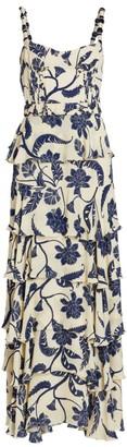Johanna Ortiz Cat Goddess Tiered Silk Maxi Dress