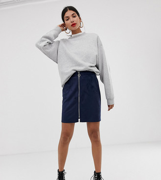 Vero Moda Tall Faux Suede Zip Front Skirt