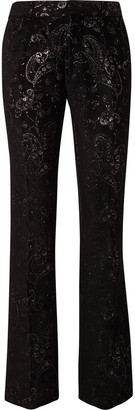 Amiri Flared Embroidered Velvet Suit Trousers