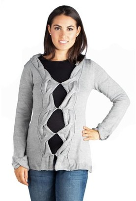 24/7 Comfort Apparel 24seven Comfort Apparel Diamond Cutout Grey Maternity Cardigan Sweater