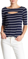 Cable & Gauge Cutout Elbow Sleeve Stripe Tee