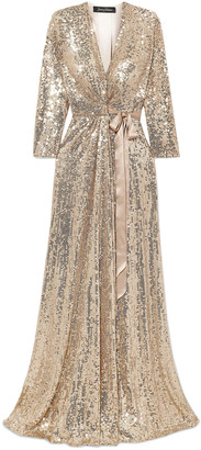 Jenny Packham Satin-trimmed Sequined Silk-chiffon Wrap Gown