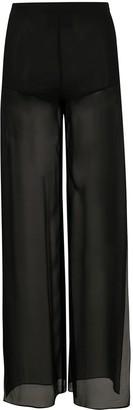 John Richmond Silk Sheer Wide-Leg Trousers